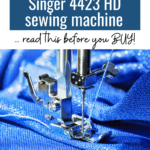 Buying a heavy duty sewing machine? Read this Singer 4423 review before you buy! Is this the right sewing machine for you? Singer sewing machine 4423, heavy duty singer sewing machine, review singer 4423 #AD #Sewing #SewingMachine
